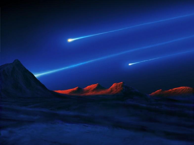 Meteore über dem Mars