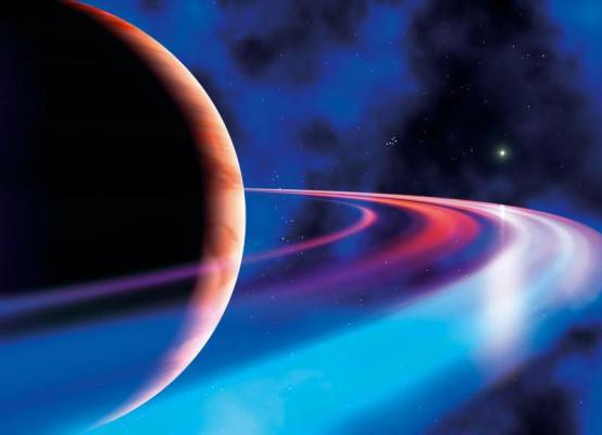 Surreale Darstellung des Rinplaneten Saturn.