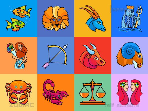 Farbenfrohe Cartoon-Tierkreiszeichen.