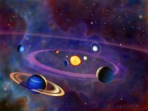 Stilisierte Darstellung des Sonnensystems