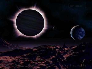 Eine Sonnenfinsternis auf einem fremden Planeten