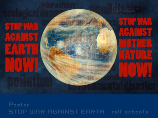 Poster STOP WAR AGAINST EARTH landscape