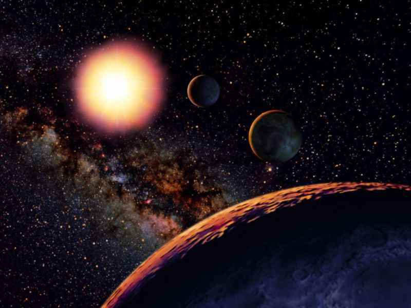 """Illustration Himmelsjahr 2013, Seite 142, Monatsthema """"Wo ist die zweite Erde?"""". Copyright Ralf Schoofs/Astrofoto. Digital, Gimp 2.8, 1453 px mal 1090 px, 2012."""