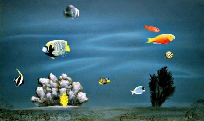 Tropische Fische in einem Aquarium.