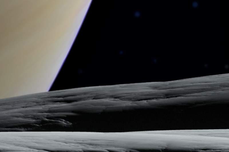 Zwei Horizonte im Blickfeld: der von Tethys und der Horizont von Saturn. Bildausschnitt.