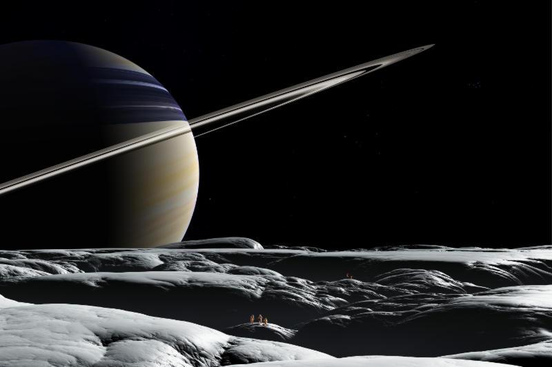 Der Ringplanet Saturn von seinem Mond Tethys aus gesehen.