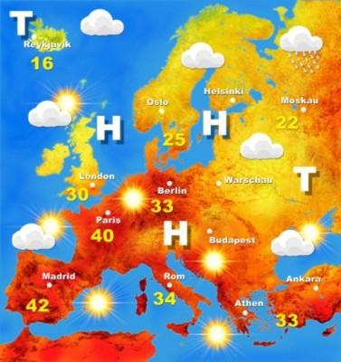 Wetterkarte Europa Hitze Sommer 2003