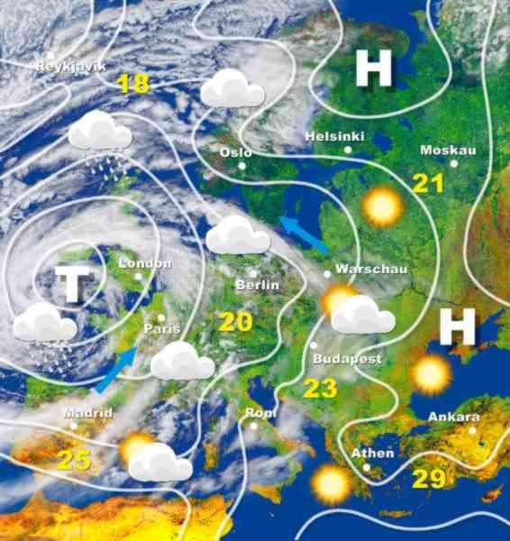 Wetterkarte Europa Herbst 2005