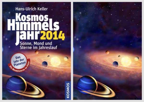 Mein Titelbild für das astronomische Jahrbuch von Prof. Dr. Hans-Ulrich Keller im Vergleich zum Layout von eStudio Calamar.