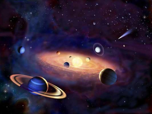 Unser Sonnensystem (stilisiert) mit dem Zodiakallicht.