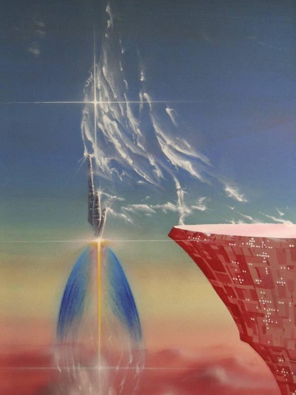 Flucht aus der Wolkenstadt (Ausschnitt) Mischtechnik auf Spanplatte, 120cm x 180cm, 1989.