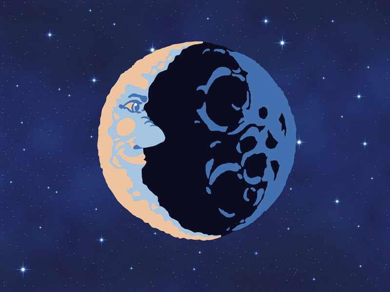 Der Mann im Mond, Mr. Moon, symbolisierter Mond im naiven Stil (Illustration).