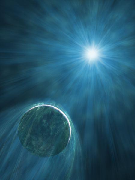 Die Strahlung des Pulsars PSR B1257+12 habe ich hier sichtbar dargestellt.