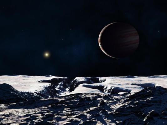Gasriese Jupiter von seinem Mond Europa aus gesehen.