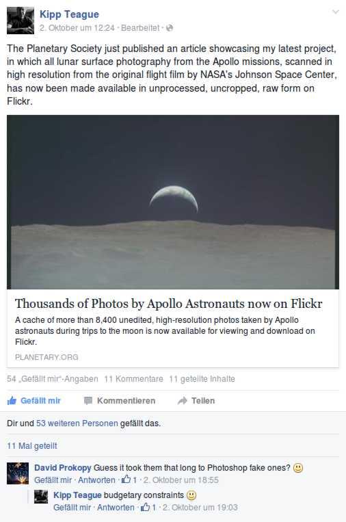 Post von Kipp Teague auf seiner Seite auf facebook
