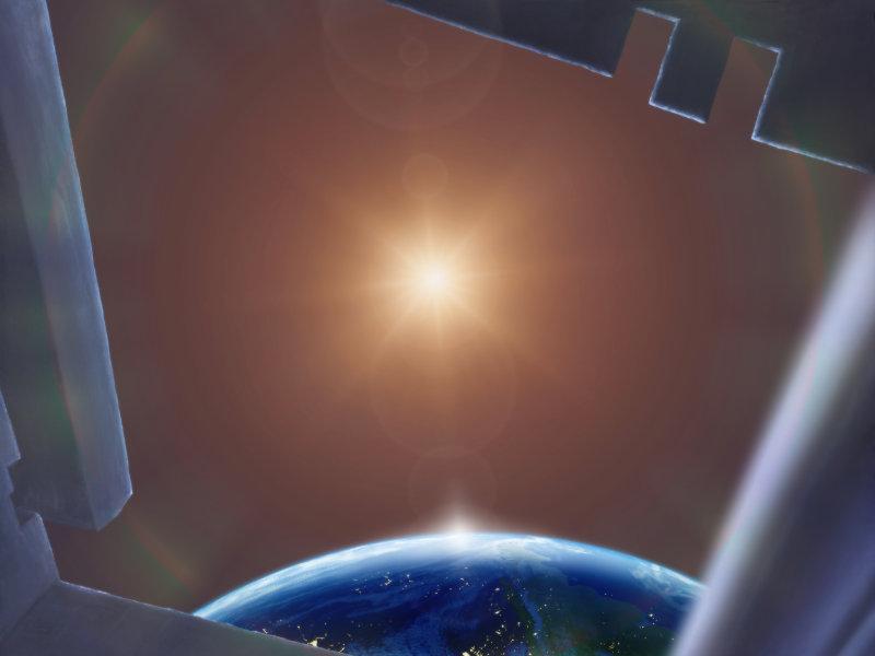 Blick aus einem Raumschiff auf einen Stern, der von einem erdähnlichen Planeten umkreist wird. Illustration von Ralf Schoofs. Copyright © by Ralf Schoofs