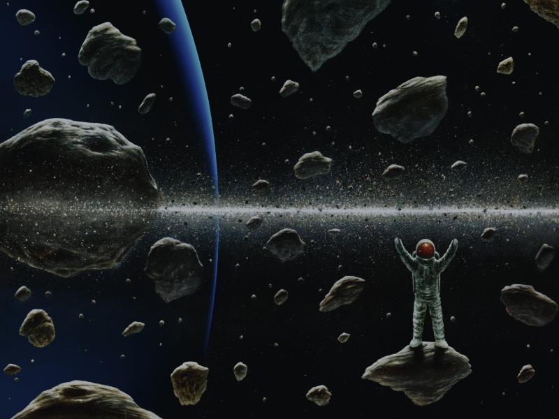 Ein Astronaut von der Erde erforscht die Ringe des Uranus.