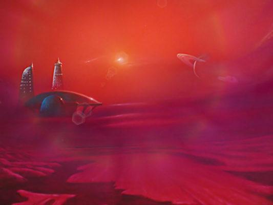 Stadt auf dem Saturnmond Titan