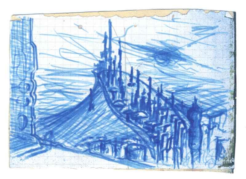 """Skizze zu """"Wächter der Eis Stadt"""" ca. 10 cm mal 15 cm"""