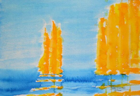 Ideenskizze in Gelb und Blau
